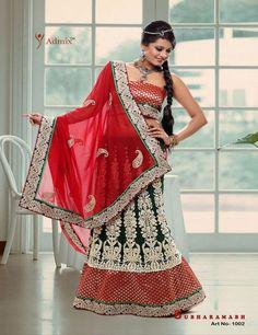 Green Red Designer Lehnga Saree - Sarees