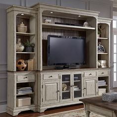 Liberty furniture creek relaxed vintage entertainment center adjustable wood shelves with diy storage s Living Room Furniture, Home Furniture, Luxury Furniture, Antique Furniture, Wooden Furniture, Outdoor Furniture, Living Rooms, Furniture Movers, Country Furniture