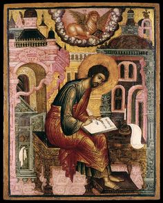 Lessons from the Divine Office for St. Luke the Evangelist: Luke Homily 17 on the Gospels by St. Gregory the Pope: . Byzantine Icons, Byzantine Art, Religious Icons, Religious Art, Luke The Evangelist, Church Icon, Jesus Painting, Russian Icons, Sacred Symbols