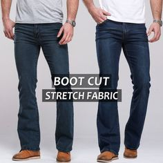 Check it on our site Mens jeans boot cut leg slightly flared slim fit famous brand blue black male jeans designer classic denim Jeans just only $29.89 with free shipping worldwide  #jeansformen Plese click on picture to see our special price for you