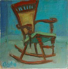 Rocking Chair - still life - original oil painting. $35.00, via Etsy.