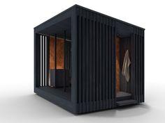 Tiny Container House, Container Design, Modern Saunas, Tall Cabinet Storage, Locker Storage, Sauna House, Sauna Design, Outdoor Sauna, Shelter Design