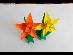 Нарцисс оригами, 5 лепестков, Narcis origami, 5 petals (František Grebeníček) - YouTube