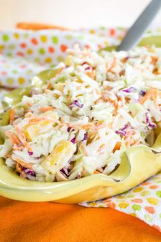Hawaiian Pineapple Coleslaw Recipe - a sweet and savory tropical twist on the classic picnic salad. Made healthy with Greek yogurt, this easy summer side dish has no mayo. Hawaiian Coleslaw, Classic Coleslaw Recipe, Pineapple Coleslaw, Picnic Side Dishes, Summer Side Dishes, Easy Summer Salads, Summer Salad Recipes, Barbecued Sausages