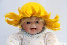 Wet Felted Newborn Sunflower Hat
