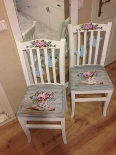 Image interface for decoupage furniture decoupage furnitur Shabby Chic Decor, Hand Painted Chairs, Redo Furniture, Painted Furniture, Refinishing Furniture, Painted Chairs, Furniture Makeover, Shabby Chic Furniture, Decoupage Furniture