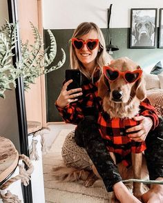 Matching red and black flannels for you and your dog. #sunglasses #lookingcool