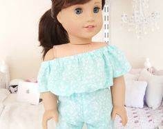 Fits American Girl 18 inch doll: romper with acessories