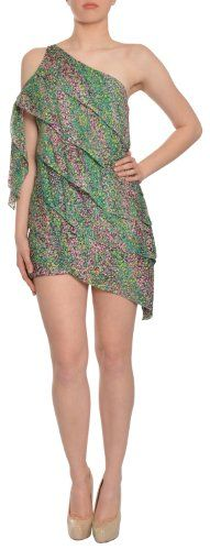 Fresh garden print dress. Asymmetrical neckline with cutout bowtie detail atop the shoulder. Layered loose fit silhouette. Easy pullover style.