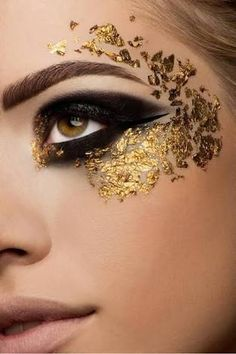 Image result for gold eye makeup looks flakes