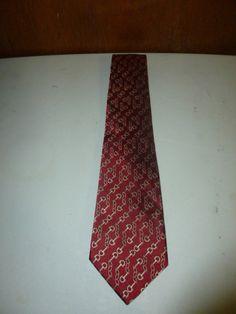 Mens Pink Jermyn London Street Silk Tie Necktie Horsebit Motif Red Gold