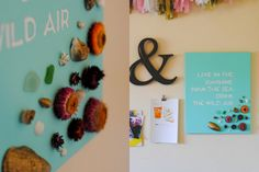 DIY: live in the sunshine, swim the sea, drink the wild air.   Painted quote + shells & dry flowers.