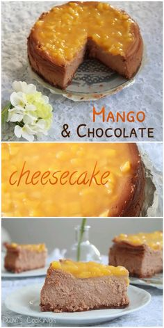 Delicious Chocolate Cheesecake with Mango Topping with velvety texture and fantastic taste! Best Cheesecake, Chocolate Cheesecake, Cheesecake Recipes, Mango Dessert Recipes, Desert Recipes, Fun Desserts, Delicious Fruit, Delicious Chocolate, Chocolate Recipes