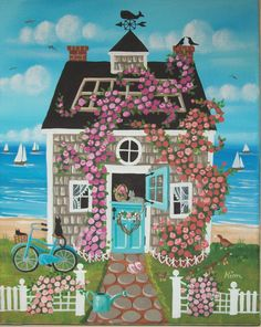 Nantucket Rose Cottage Folk Art Print - KimsCottageArt on Etsy