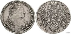 Anna Ivanova, 1730-1740, Rouble, 1736, Moscow, half length portrait clockwise, reverse crowned double eagle, Severin 1219, Bitkin 125, Dav. 1673.25.76 Gr., very fine.    Dealer  HBA    Auction  Minimum Bid:  300.00EUR