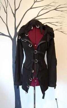 945b0912bb7 Up cycled black buckle high fashion goth diesel punk hoodie