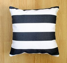 Nautical Stripe Pillow Case - Navy White- Summer - Outdoor Pillow - Home decor - 16 x 16 decorative throw pillow cover
