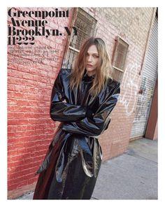Captured in Brooklyn, New York, Sasha Pivovarova wears Balenciaga in the fashion editorial