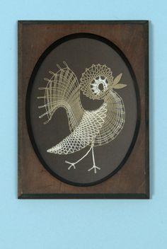 Pták - vrabec - v.č.14354   Vamberecká krajka
