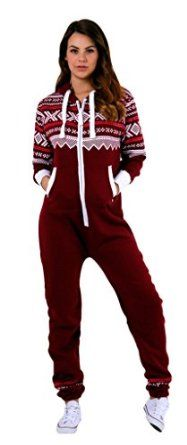 SkylineWears Women's Onesie Fashion Printed Playsuit Ladies Jumpsuit: Clothin  Burgundy, L