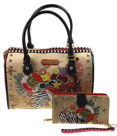 Nicole Lee NL Loves Hawaii Print Boston Handbag & Wallet Wristlet NLH11653 Purse