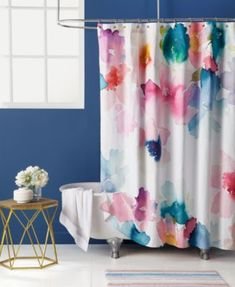 bluebellgray Sanna Cotton Watercolor Floral-Print Shower Curtain | macys.com