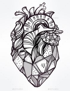 Heart Of Stone Vector Illustration. — JPG Image #anatomy #drawn • Available here → https://graphicriver.net/item/heart-of-stone-vector-illustration/13265769?ref=pxcr
