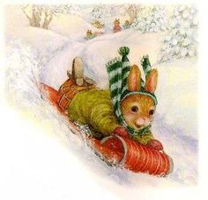 Oliver's Red Toboggan illustrated by Susan Wheeler Susan Wheeler, Winter Illustration, Christmas Illustration, Children's Book Illustration, Christmas Pictures, Christmas Art, Vintage Christmas, Beatrix Potter, Bunny Painting