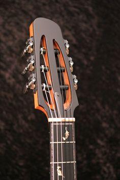 Modern nylon string guitar headstock