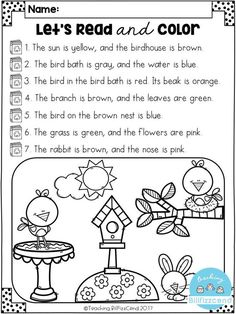 FREE Reading Comprehension Activities FREE Read and Color Listening Comprehension These are super duper cute read and color pages. Perfect for your first grade students. These can also be used as listening comprehension for your kindergarten students. Free Kindergarten Worksheets, Reading Worksheets, Kindergarten Literacy, Summer Worksheets, Grade 1 Worksheets, Reading Comprehension Activities, Teaching Reading, Free Reading, Reading Centers