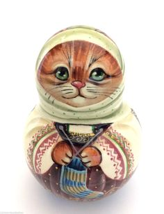 Cat Roly Poly Russian Hand Carved Hand Painted Nesting Doll | eBay