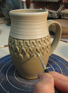 Love the shape of this mug -- mug stamp design slip accents pottery ceramics clay