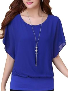 Cheap batwing blouse, Buy Quality blouse women directly from China shirt top Suppliers: Naiveroo Plus Size Chiffon Batwings Blouse Women Short Sleeve Oversize Casual Loose Tees Tops Summer Flouncing Shirt Blusas Manga Del Batwing, Batwing Top, Batwing Sleeve, Short Sleeve Blouse, Plus Size Blouses, Elegant Woman, Chiffon Tops, Chiffon Blouses, Street Style Women
