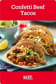 Seasoned Ground Beef is mixed with corn and chunky salsa for a twist on the classic taco. Easy Campfire Meals, Campfire Recipes, Campfire Food, Chunky Salsa, Recipe Tonight, Ground Beef, Confetti, Tacos, Classic