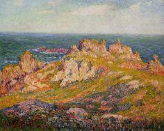 Rocks by the Sea, huile sur toile de Henri Moret (1856-1913, France)