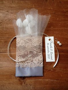 lace favor bags grey and pink wedding satin ribbons