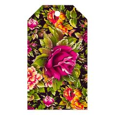 Pretty Black and Pink Rose Floral Gift Tags