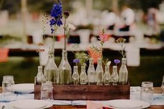 Recycled bottles as centerpieces.