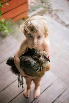 Too cute & funny! Children seem to have such an innate ability with animals. The animals, most anyway, seem to understand the difference LOL. Life is beautiful! Animals For Kids, Farm Animals, Animals And Pets, Cute Animals, Kids And Pets, Cute Kids, Cute Babies, Chickens And Roosters, Tier Fotos