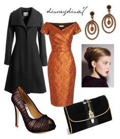 """Night Out"" by disneydiva7 ❤ liked on Polyvore featuring Milly, Reiss, Barbara Tfank, 1928, Badgley Mischka, copper heels, black coat, black bag, disneydiva7 and topaz"