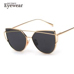 BOUTIQUE de Las Nuevas Mujeres 6 Color de Lujo Del Ojo de Gato gafas de Sol de Las Mujeres gafas de Sol UV400 Marco de Aleación de Dos Pisos