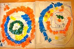 Large Kandinsky Concentric Circles collage with tissue paper