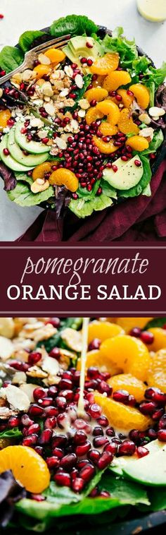 This delicious orange pomegranate salad is topped with mandarin oranges, pomegranate arils, candied almonds, sliced avocado, and feta cheese. #quick #easy #familyfriendly #best #popular #simple #salad #pomegranate #orange #healthy #whole30 #dressing #apple #lettuce #cleaneating #mealprep #sidedish