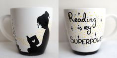 Reading is my superpower; 370ml; hand-painted mug / Kristi Palm Art