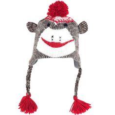 Adult Size Sock Monkey Aviator Hat W/poly-fleece Lining