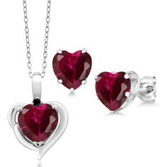 5.12 Ct Heart Shape Created Ruby Black Diamond 925 Silver Pendant Earrings Set -- Learn more by visiting the image link. (As an Amazon Associate I earn from qualifying purchases) Sterling Silver Pendants, 925 Silver, Pendant Earrings, Black Diamond, Earring Set, Heart Shapes, Garnet, Jewelry Sets, Heart Ring