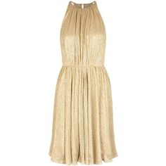 Halston Heritage Gold Open-back Plissé Dress - Size L (1.735 BRL) ❤ liked on Polyvore featuring dresses, open back dresses, gold dress, halston heritage, beige cocktail dress and gold cocktail dress