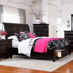 Wood Storage Panel Bed In Black With Turned Feet And Two Dovetail Drawers.  Product: