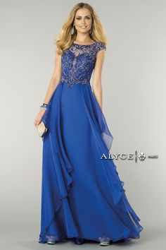 2015 Bateau Open Back A-Line Prom Dress Beaded Tulle Bodice With Layered  Chiffon Skirt Dark Royal Blue 208692d9d2ab