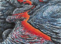 Minimax.cz - umělecký server pro všechny autory - LÁVA VULKÁNU KILAUEA NA HAVAJI - fixy, akvarel a pastel Jana Haasová -Vesuvanka Volcanoes, Painters, Lava, Statue, Outdoor, Outdoors, Volcano, Outdoor Games, Pallet